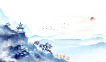 Blue Ink Landscape Painting, Oriental Color Ink Painting.Asian Culture.