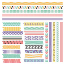 Scrapbooking Tape Or Washi Stripes Set, Flat Vector Illustration Isolated.