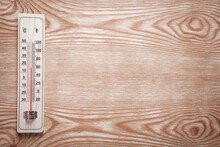 Wooden Thermometer On Wooden B...