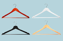 Set Of Clothes Hangers On Colo...