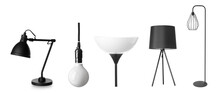 Different Stylish Lamps On White Background