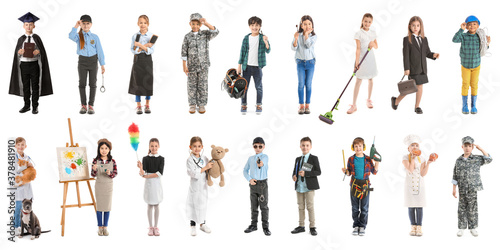 Collage with little children in uniforms of different professions on white background - 378481910