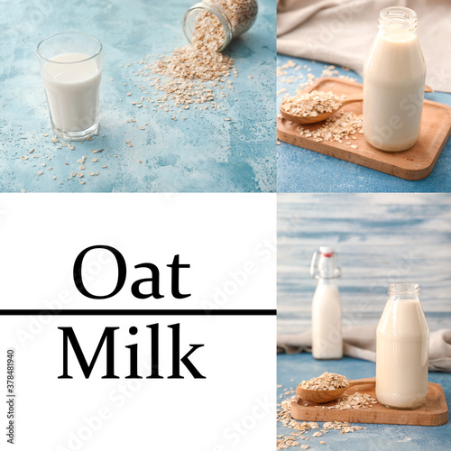 Fototapeta Collage of photos with tasty oat milk obraz