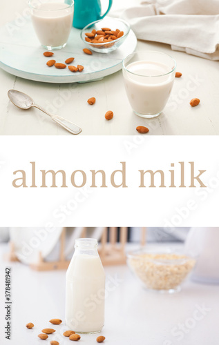 Fototapeta Collage of photos with tasty almond milk obraz