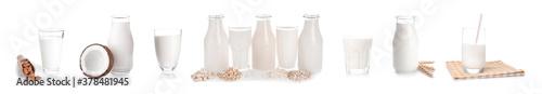 Photo Glassware of different vegan milk on white background