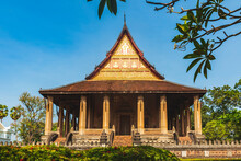 Laos Travel Landmark, Hor  Phra Keo Religious Architecture And Famous Tourist Destination In Vientiane Capital, Laos