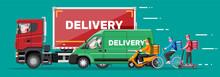 Set Of Delivery Man On Van Tru...
