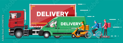 Fototapeta Set of delivery man on van truck, scooter, motorbike, bicycle. Fast and free delivery in city. Male courier with parcel box with goods products, food. Cargo, logistic. Cartoon flat vector illustration obraz