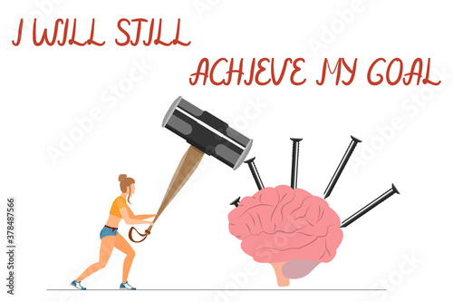 I will still achieve my goal - hand lettering Wallpaper Mural