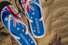Australian Flag Flip-flops, Top View On Sand