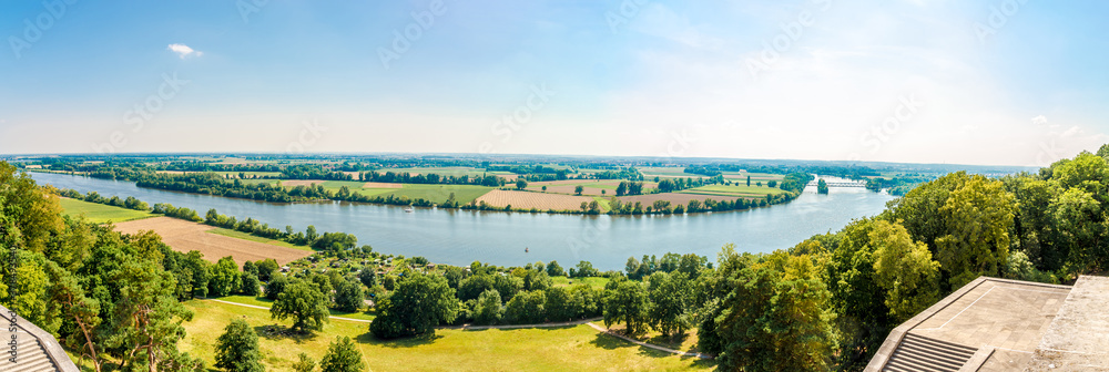 Fototapeta Panoramic view at Donau meander with nature from the Walhalla memorial near Regensburg - Germany