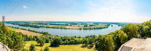 Obraz Panoramic view at Donau meander with nature from the Walhalla memorial near Regensburg - Germany - fototapety do salonu