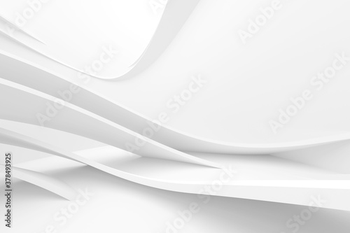 Abstract Hall Background. White Futuristic Texture