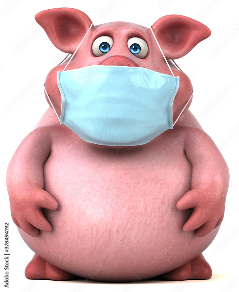 Fototapeta Fun 3D illustration of a pig with a mask