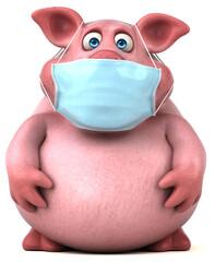Fototapeta Boks Fun 3D illustration of a pig with a mask