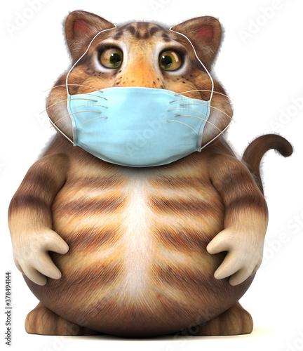 Fototapeta Fun 3D illustration of a cat with a mask obraz