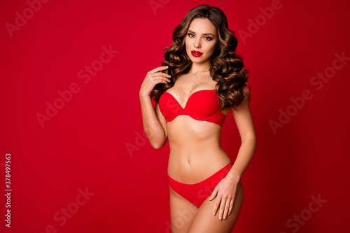 Valokuvatapetti Photo of attractive seductive perfect beauty lady slim body shapes touch curly h
