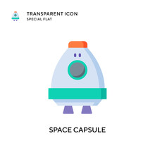 Space Capsule Vector Icon. Flat Style Illustration. EPS 10 Vector.
