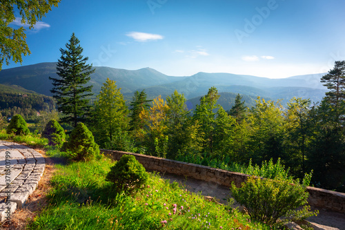 Fototapeta Beautiful summer scenery of the terrace at the Karkonosze Mountains, Poland obraz