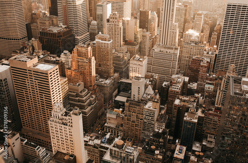 Aerial view highrise buildings, New York City, New York, USA  - 378509356