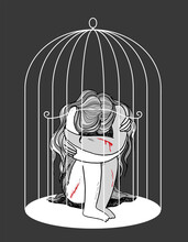 Self-harming Teenager Locked In A Cage, Illustration