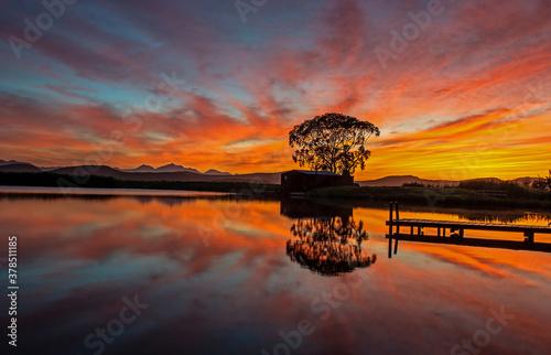 Fototapeta sunrise on the river obraz