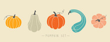 Set Of Pumpkins Of Various Shapes And Colors. Colorful And Cute Elements For Halloween, Thanksgiving And Autumn Season. Collection Of Different Isolated Flat Vector Objects