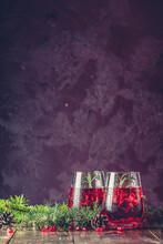 Two Glasses Of Pomegranate Dri...