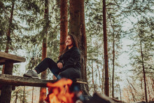 Young Woman Enjoying Nature, Picnicking In Nature, Walking In The Forest Enjoying The Sunset