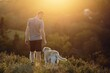 Man with dog walking on meadow at sunset