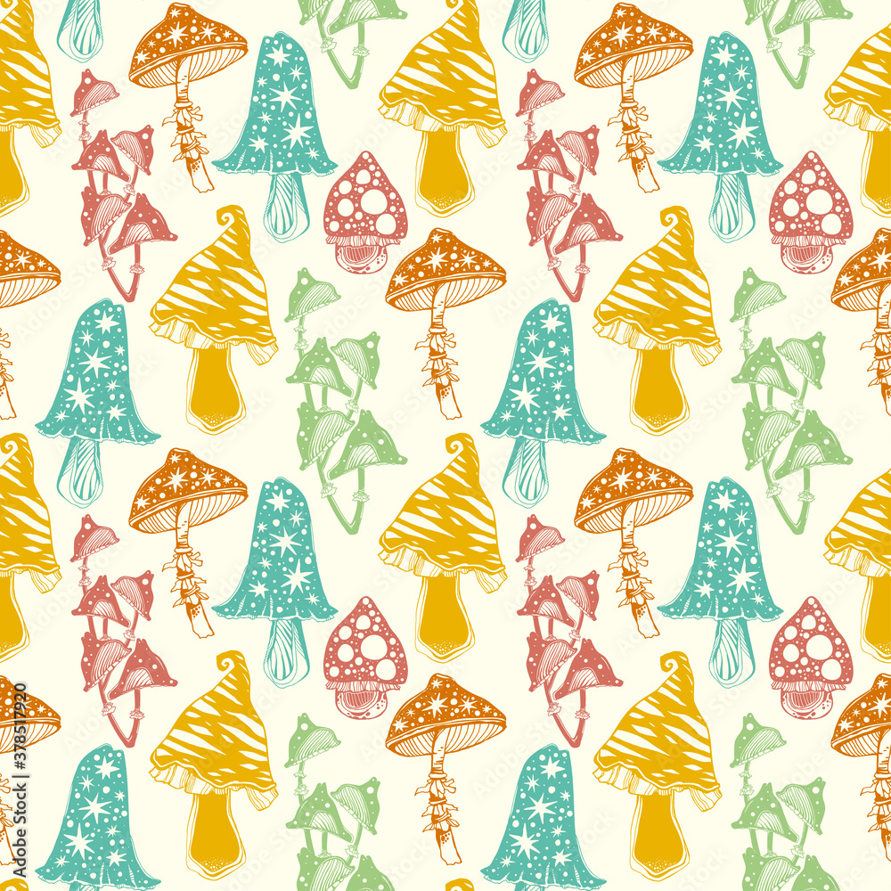 Fototapeta Magic psychedelic mushrooms seamless pattern. Occult tripppy ornament design, vintage gothic tattoo style. Nature and witchcraft art. Isolated vector background.