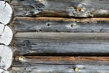 Corner Of A Log House, Old Bu...