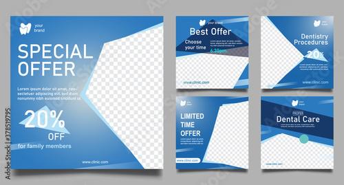 Fototapeta Dentist social media post templates. Medical promotion square web banner. Special offer banner. Sale and discount backgrounds. Vector illustration. obraz
