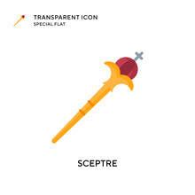 Sceptre Vector Icon. Flat Style Illustration. EPS 10 Vector.