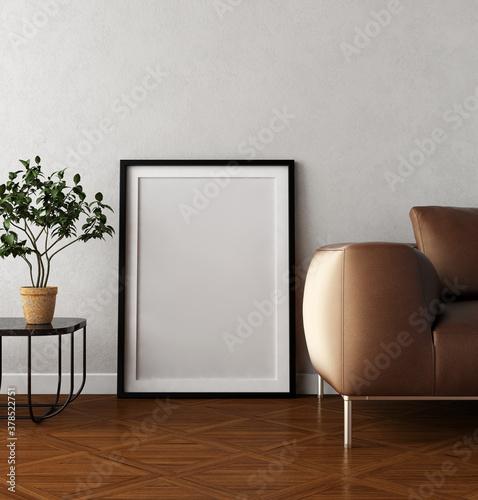 Fototapeta Large luxury modern minimal bright interiors room mockup illustration 3D rendering obraz na płótnie