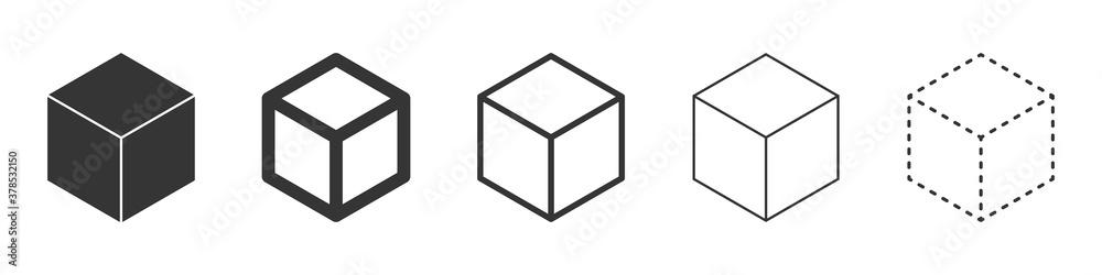 Fototapeta Cube vector icons. Black Cube icons.