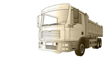 Truck Sketch Symbol 3d Illustr...