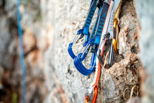 A Few Carabiners For Climbers On A Rock