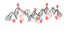 Mountain Track Gps Route Summer Or Winter Sport Tracking Walking People Footsteps Hiking Icons Funny Vector Steps Ski Resort Trail Map Mount Pass Outdoor Traveler Trekking On Road Hiker On Top