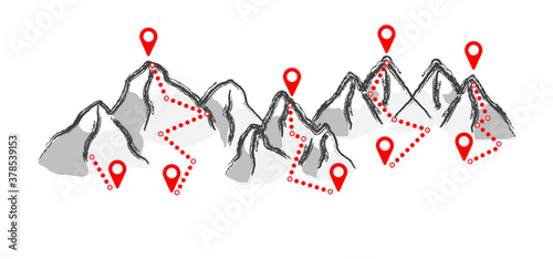 Fototapeta Mountain track gps route Summer or winter sport Tracking walking people footsteps Hiking icons Funny vector steps Ski resort trail map Mount pass Outdoor traveler trekking on road Hiker on top obraz