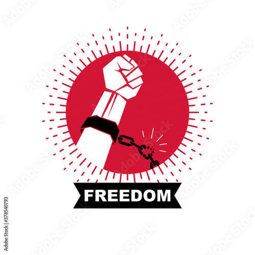 Fototapeta Slave red arm with clenched fist in shackles breaks the chain. No limits and restrictions conceptual emblem. obraz