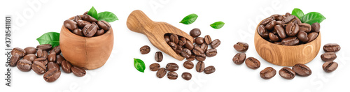 Fotografie, Obraz Heap of roasted coffee beans with leaves isolated on white background