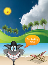 Picturesque Tropical Paradise Landscape With Comical Cat On Vacation Set Against A Blue Cloudy Sky