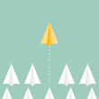 Group of paper planes flying. A yellow paper plane ahead of other paper planes. Concept of leadership, innovation, change, disruption, risk, competition, mission. Vector illustration, flat design