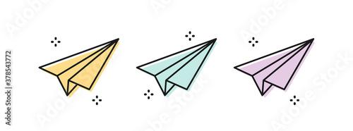 Leinwand Poster Paper plane icon set