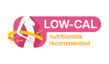 Low Cal Nutritionists Recommended Sticker - Weight Loss Diet Food Logo (isolated Button With Frame) - Emblem With Woman Silhouette And Measuring Tape