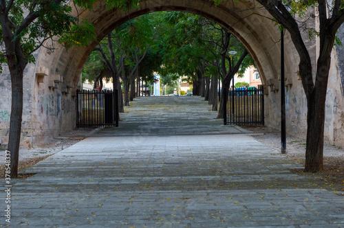 Fototapeta Beautiful archway with a road near trees obraz