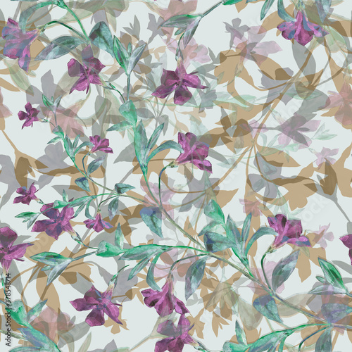 Canvas Print Watercolor  flowers  periwinkle on gray background