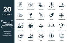 Affiliate Marketing Icon Set. Monochrome Sign Collection With Pay Per Click, Affiliate Program, Advertiser, Affiliate Network And Over Icons. Affiliate Marketing Elements Set.