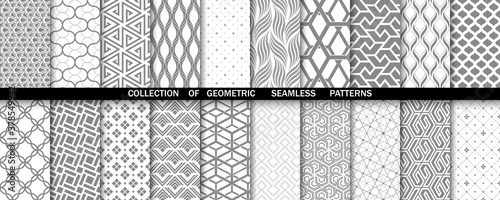 Geometric set of seamless gray and white patterns Fototapet